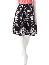 Valerie Stevens Black & White Floral Print Pleated Skirt