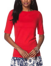 Chaps Solid Color Red Crisscross Back Top