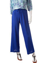 Zac & Rachel Solid Color Pull-On Crepe Pants