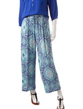 Zac & Rachel Pull-On Moroccan Inspired Print Crepe Pants