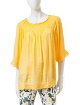Valerie Stevens Solid Color Linen Top