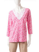 Alfred Dunner Abstract Octopus Print Crochet Top
