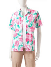 Alfred Dunner Floral Print Layered-Look Top