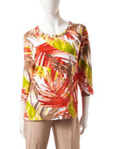 Alfred Dunner Tropical Leaf Print Top
