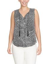 Chaus Black & White Paisley Print Tassel Top