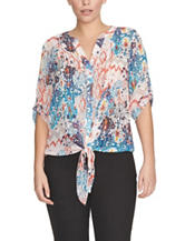 Chaus Multicolor Tribal Floral Print Tie-Front Top
