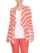 Chaus Coral & White Striped Knit Cardigan