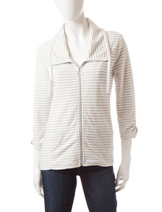 Onque Casuals Ivory & Beige Striped Print Jacket