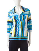 Onque Casuals Watercolor Striped Print Jacket