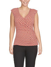 Chaus Geo Print Side Knot Knit Top
