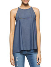 Calvin Klein Jeans Dark Chambray Embroidered Top
