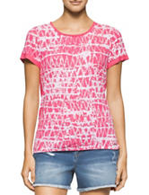 Calvin Klein Jeans Pink & White Abstract Print Top