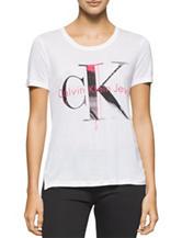 Calvin Klein Jeans White Logo Print Top