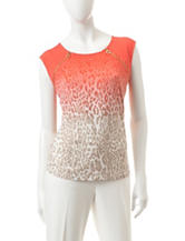 Calvin Klein Animal Print Zipper Knit Top