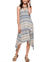 Skyes The Limit Abstract Print Sharkbite Dress