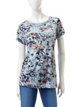 Hannah Floral Print Lace Appliqué Top