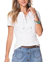 Chaps Lace Up Rib Top