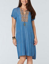 Democracy Embroidered Chambray Woven Dress