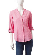 Dockers Solid Color Pink Convertible Check Woven Top