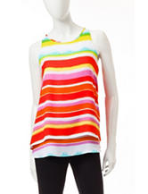 Zac & Rachel Multicolor Striped Print Crepe Swing Top