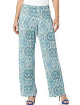 Rafaella Medallion Print Wide Leg Pants