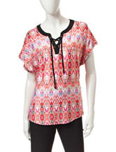 Notations Ikat Print Lace Up Knit Top
