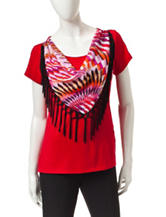 Notations Red Fringe Scarf Knit Top