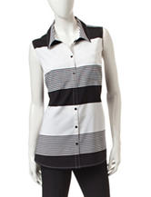Notations Striped Print Woven Top