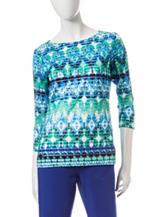 Ruby Rd. Keeping Cool Tonal Blue Ikat Print Burnout Top