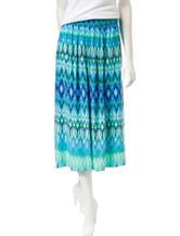 Ruby Rd. Tonal Blue Ikat Print Skirt