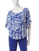 Ruby Rd. Jungle Gym Cobalt Blue Embellished Tie-Dye Print Top