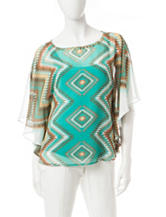 Ruby Rd. Sierra Sunset Multicolor Tribal Print Embellished Top