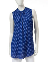 ABS by Allen Schwartz Polka Dot Print Woven Top