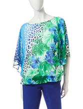 Ruby Rd. Keeping Cool Tonal Blue Floral & Animal Print Top