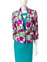 Kasper Floral Print Shantung Jacket