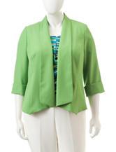 Kasper Plus-size Green Flyaway Jacket