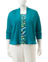 Kasper Teal Pointelle Knit Cardigan