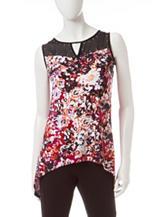 Notations Floral Print Hi-Lo Knit Top