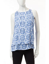 Zac & Rachel Blue & White Tiered Top