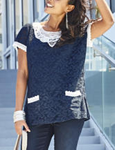 Hannah Crochet Trim Lace Knit Top