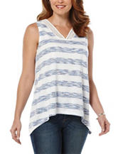 Rafaella Striped Crochet Trim Top