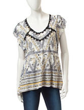 Energé Mixed Print Lace Accent Top