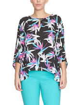 Chaus Abstract Floral Print Sharkbite Top