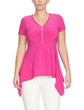 Chaus Pink Zip Front Knit Top