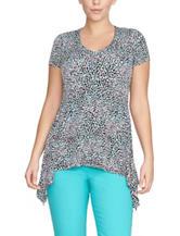 Chaus Multicolor Dot Print Sharkbite Knit Top