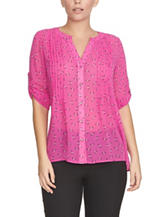 Chaus Pink Floral Print Woven Top