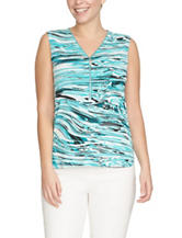 Chaus Marble Print Zip Accent Top