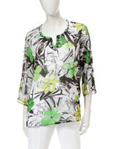 Alfred Dunner Tropical Print Woven Top