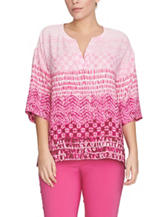 Chaus Tonal Pink Tribal Print Woven Top