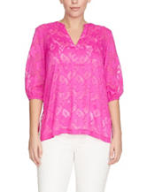 Chaus Floral Jacquard Woven Top